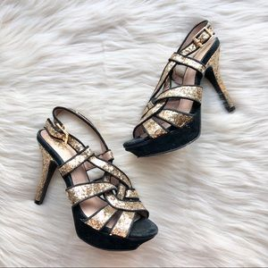 Vince Camuto Strappy Glitter Heels